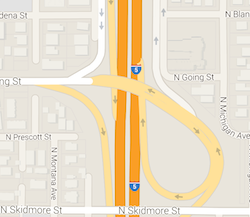 Map of freeway interchange on I-5 at Going St.
